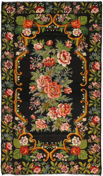 Rose Kelim Rug 192X347 Authentic  Oriental Handwoven Black/Dark Green (Wool, Moldova)