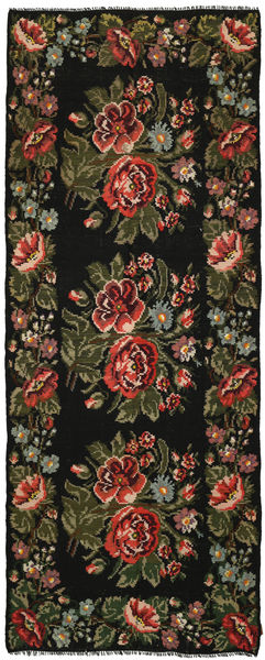 Rose Kelim Rug 164X420 Authentic  Oriental Handwoven Hallway Runner  Dark Green/Dark Brown (Wool, Moldova)