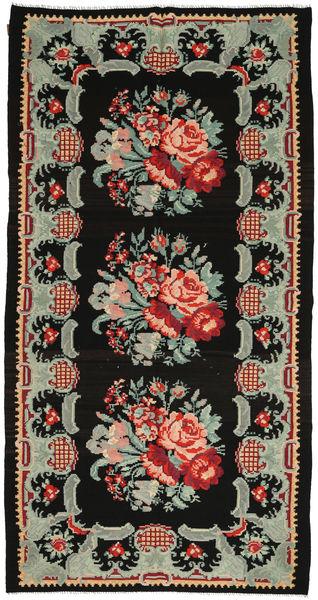 Rosekelim Teppe 183X350 Ekte Orientalsk Håndvevd Svart/Lys Grå (Ull, Moldova)