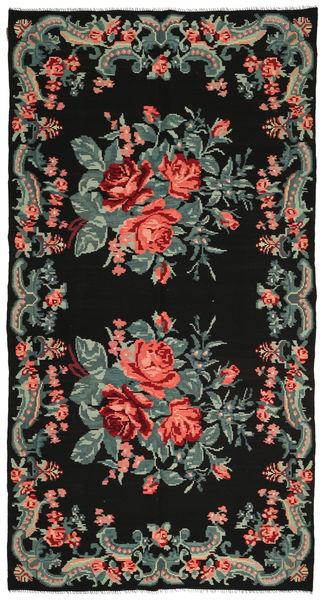 Rose Kelim Rug 184X244 Authentic  Oriental Handwoven Black/Dark Grey (Wool, Moldova)