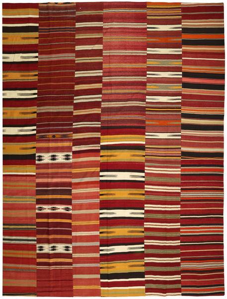 Kilim Patchwork Rug 355X444 Authentic  Modern Handwoven Dark Red/Light Brown Large (Wool, Turkey)