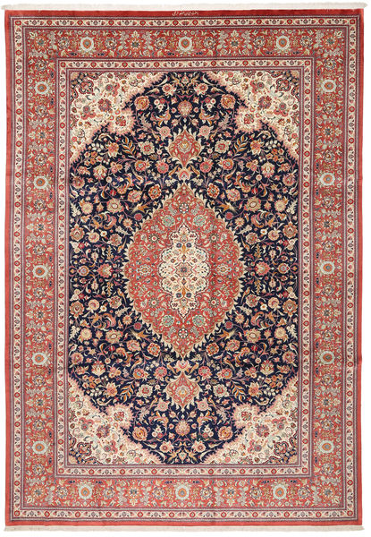Qum Silk Rug 240X348 Authentic  Oriental Handknotted Dark Grey/Light Brown (Silk, Persia/Iran)
