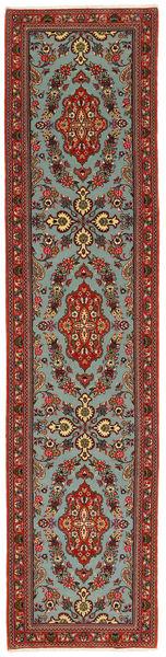 Ghom Kork/Silkki Matto 71X312 Itämainen Käsinsolmittu Käytävämatto Tummanpunainen/Tummanruskea (Villa/Silkki, Persia/Iran)