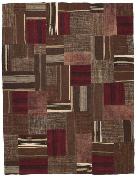 Kilim Patchwork Rug 185X239 Authentic  Modern Handwoven Dark Brown/Brown (Wool, Turkey)
