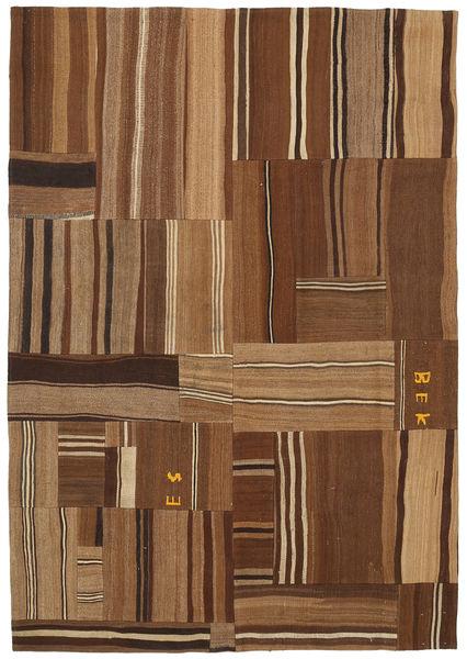 Kelim Patchwork Vloerkleed 169X240 Echt Modern Handgeweven Bruin/Donkerbruin (Wol, Turkije)