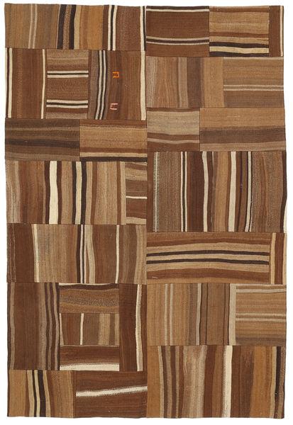 Kilim Patchwork Rug 165X224 Authentic  Modern Handwoven Brown/Dark Brown (Wool, Turkey)