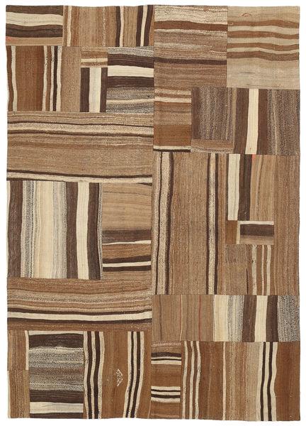 Kilim Patchwork Rug 165X234 Authentic  Modern Handwoven Light Brown/Brown (Wool, Turkey)