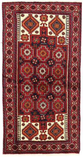 Belouch Alfombra 102X195 Oriental Hecha A Mano Rojo Oscuro/Beige (Lana, Persia/Irán)