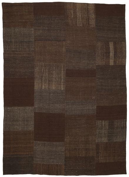 Kilim Patchwork Rug 223X314 Authentic  Modern Handwoven Dark Brown (Wool, Turkey)