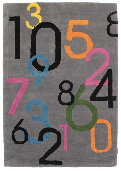 Lucky Numbers - Szary Dywan 120X180 Nowoczesny Ciemnobrązowy/Czarny (Wełna, Indie)