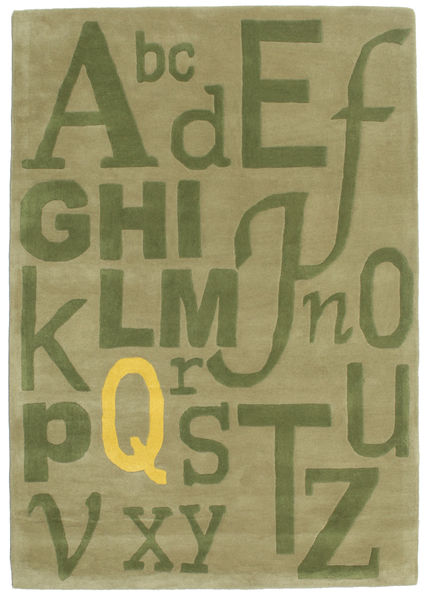 Letters Handtufted Rug 140X200 Modern Light Green/Olive Green (Wool, India)