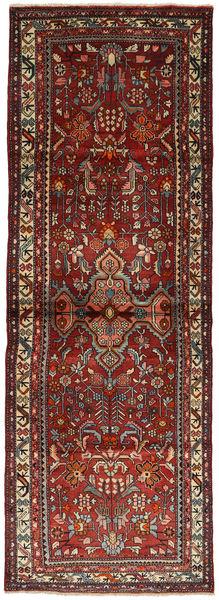 Hamadan Matta 105X300 Äkta Orientalisk Handknuten Hallmatta Mörkröd/Mörkgrå (Ull, Persien/Iran)