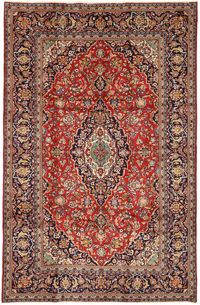 Keshan Rug 203X315 Authentic  Oriental Handknotted Dark Red/Dark Green (Wool, Persia/Iran)