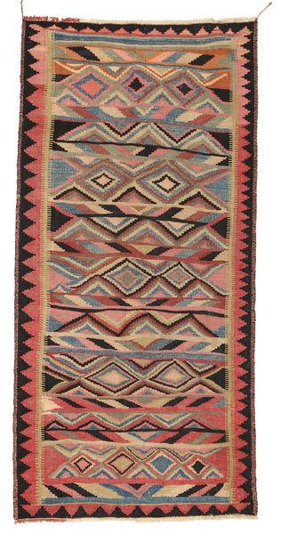 Kilim Fars Rug 137X282 Authentic  Oriental Handwoven Light Brown/Brown (Wool, Persia/Iran)