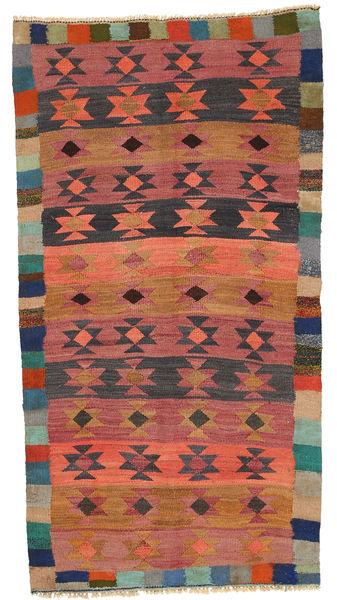 Kelim Fars Vloerkleed 131X353 Echt Oosters Handgeweven Tapijtloper Zwart/Lichtbruin (Wol, Perzië/Iran)