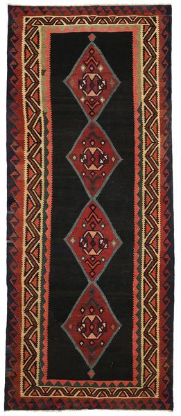 Kilim Fars Rug 166X405 Authentic  Oriental Handwoven Hallway Runner  Black/Dark Red (Wool, Persia/Iran)