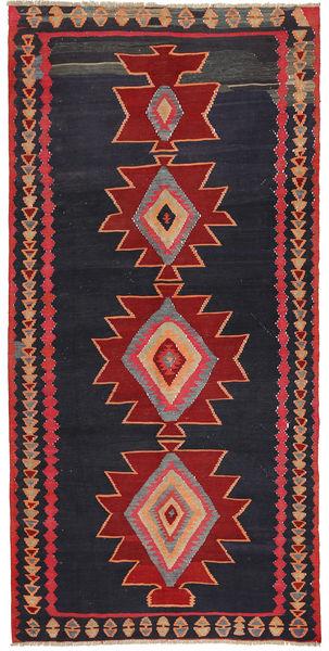 Kelim Fars Matto 150X305 Itämainen Käsinkudottu Musta/Tummanpunainen (Villa, Persia/Iran)