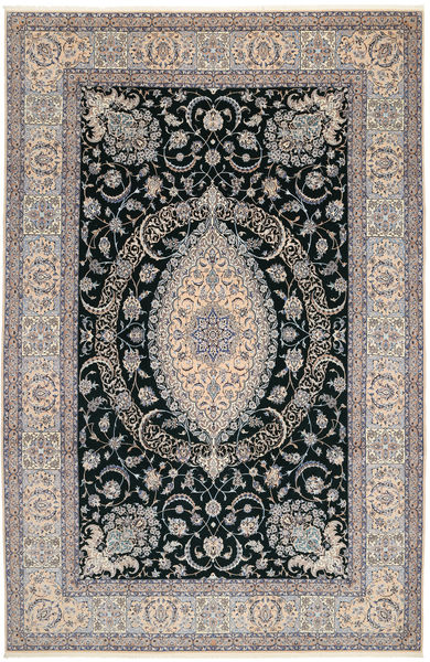 Nain 6La Rug 210X320 Authentic  Oriental Handknotted Light Grey/Light Brown (Wool/Silk, Persia/Iran)