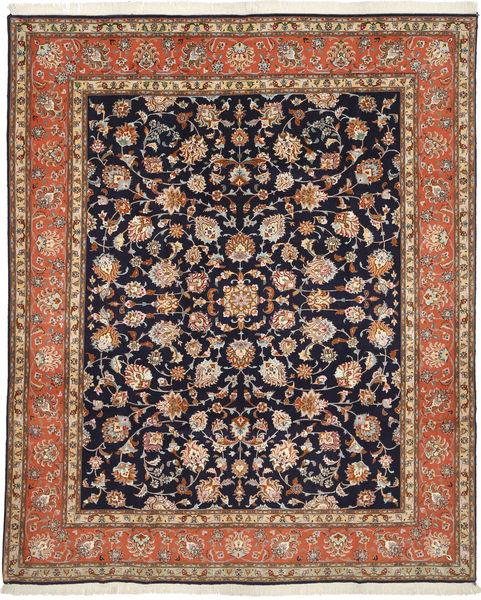 Tabriz 50 Raj Med Silke Teppe 205X254 Ekte Orientalsk Håndknyttet Lysbrun/Mørk Lilla (Ull/Silke, Persia/Iran)