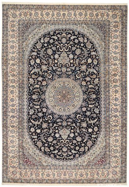 Nain 6La Tæppe 218X322 Ægte Orientalsk Håndknyttet Mørkegrå/Lysegrå/Lysebrun (Uld/Silke, Persien/Iran)