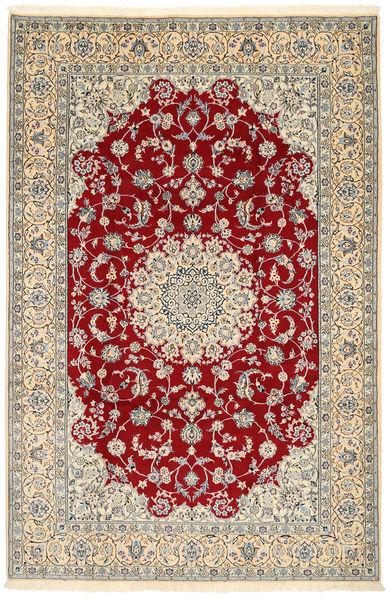 Nain 9La Rug 200X303 Authentic  Oriental Handknotted Dark Red/Beige (Wool/Silk, Persia/Iran)