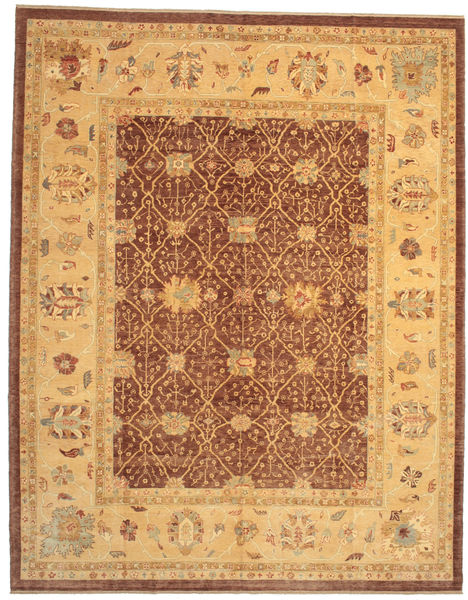 Oushak Rug 323X410 Authentic  Oriental Handknotted Light Brown/Brown Large (Wool, Turkey)