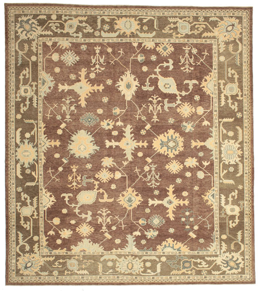 Oushak Rug 338X378 Authentic  Oriental Handknotted Light Brown/Brown Large (Wool, Turkey)