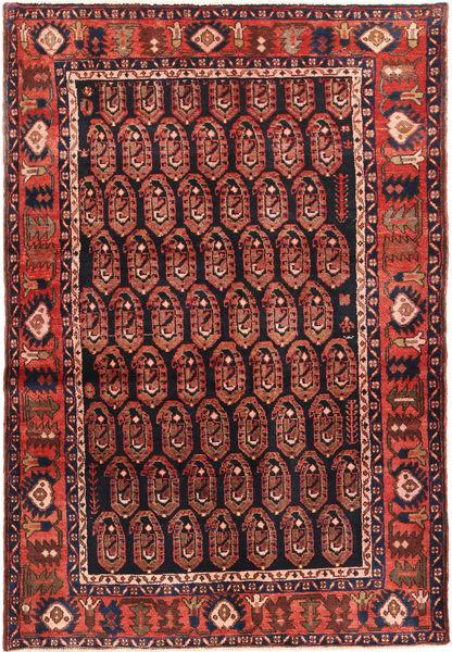 Nahavand Matto 137X207 Itämainen Käsinsolmittu Tummanpunainen/Tummanvihreä/Ruskea (Villa, Persia/Iran)