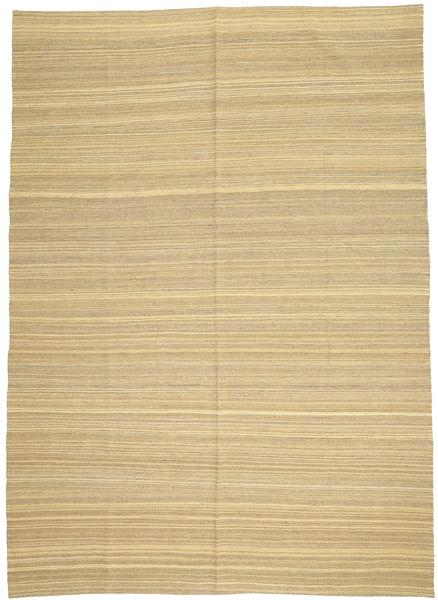 Kelim Moderne Vloerkleed 204X286 Echt Modern Handgeweven Donkerbeige/Beige (Wol, Afghanistan)