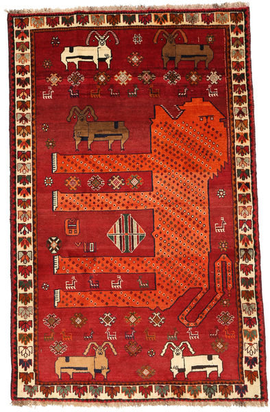 Qashqai Rug 118X185 Authentic  Oriental Handknotted Rust Red/Dark Red (Wool, Persia/Iran)