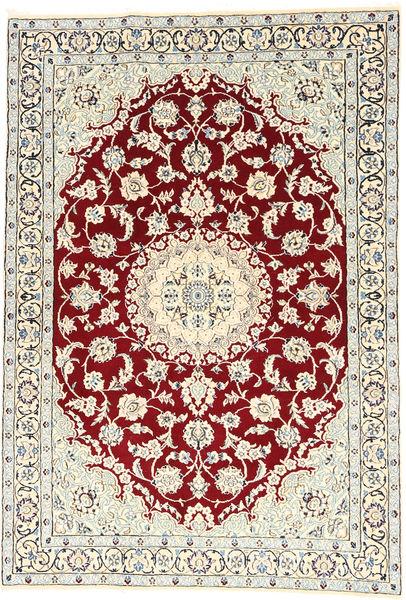 Nain 9La Teppe 120X177 Ekte Orientalsk Håndknyttet Beige/Mørk Rød (Ull/Silke, Persia/Iran)