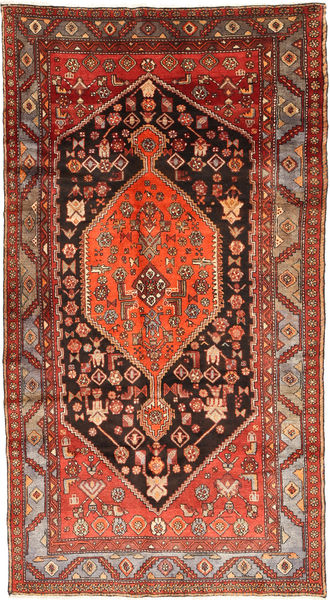 Hamadan Rug 140X270 Authentic  Oriental Handknotted Dark Red/Dark Brown (Wool, Persia/Iran)