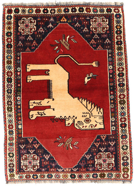 Ghashghai Matto 107X151 Itämainen Käsinsolmittu Tummanpunainen/Ruoste (Villa, Persia/Iran)