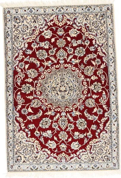ナイン 9La 絨毯 92X136 オリエンタル 手織り 深紅色の/ベージュ (ウール/絹, ペルシャ/イラン)