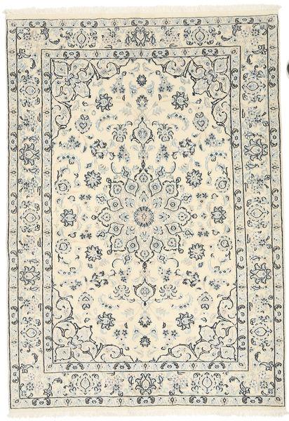 Nain 9La Rug 138X198 Authentic  Oriental Handknotted Beige/Light Grey (Wool/Silk, Persia/Iran)