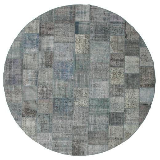 Patchwork Matto Ø 400 Moderni Käsinsolmittu Pyöreä Vaaleanharmaa/Tummanharmaa/Sininen Isot (Villa, Turkki)
