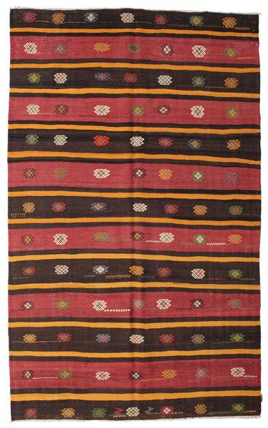 Kelim Semiantiikki Turkki Matto 195X320 Itämainen Käsinkudottu Tummanruskea/Tummanpunainen (Villa, Turkki)