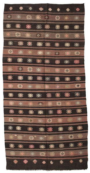 Kelim Halvt Antikke Tyrkiske Teppe 175X360 Ekte Orientalsk Håndvevd Mørk Brun/Lysbrun (Ull, Tyrkia)