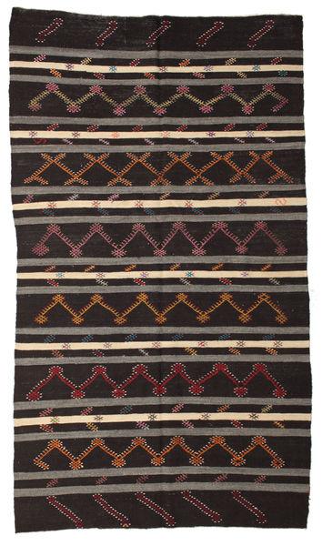 Kilim Semi-Antigo Turquia Tapete 199X348 Oriental Tecidos À Mão Castanho Escuro/Cinza Escuro (Lã, Turquia)