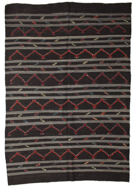 Kilim Semi Antique Turkish Rug 240X355 Authentic  Oriental Handwoven Black/Dark Grey (Wool, Turkey)