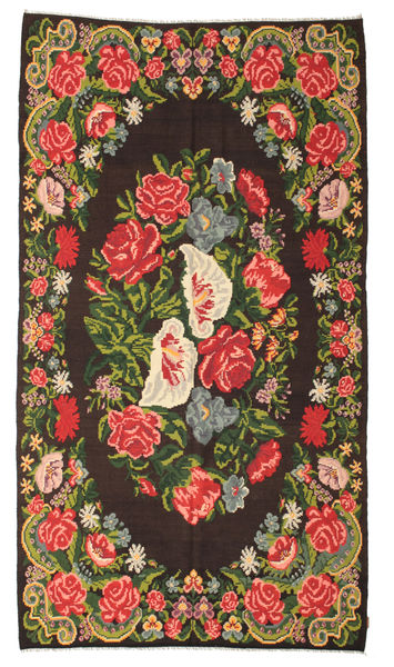 Rose Kelim Moldavia Rug 200X358 Authentic  Oriental Handwoven Black/Dark Green (Wool, Moldova)