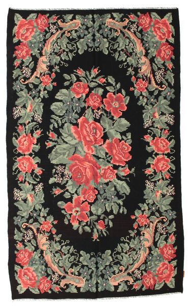 Rose Kelim Moldavia Rug 168X285 Authentic  Oriental Handwoven Black/Light Green (Wool, Moldova)