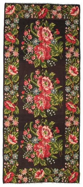 Kelim Rosen Moldavia Teppich  165X287 Echter Orientalischer Handgewebter Schwartz/Dunkelgrün (Wolle, Moldawien)