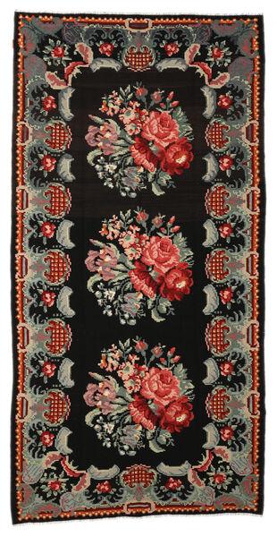 Rose Kelim Moldavia Rug 187X347 Authentic  Oriental Handwoven Black/Brown (Wool, Moldova)