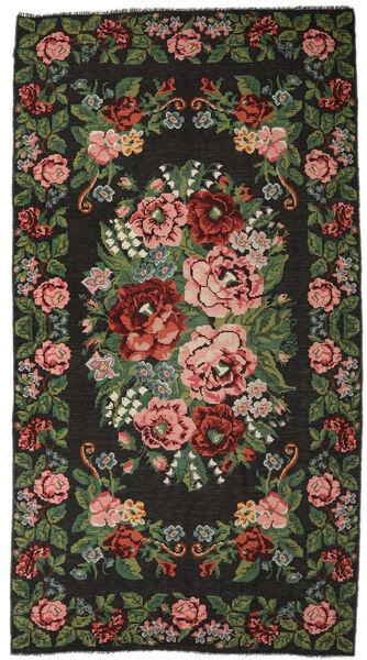 Rosenkelim Moldavia Matta 215X413 Äkta Orientalisk Handvävd Mörkgrå/Mörkgrön (Ull, Moldavien)