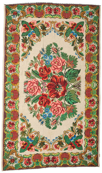 Rose Kelim Moldavia Rug 227X386 Authentic  Oriental Handwoven Dark Green/Beige (Wool, Moldova)