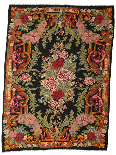 Rose Kelim Moldavia Rug 244X330 Authentic  Oriental Handwoven Black/Olive Green (Wool, Moldova)