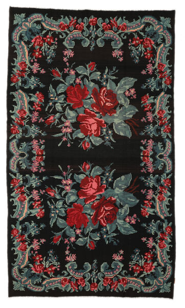 Rose Kelim Moldavia Rug 185X314 Authentic  Oriental Handwoven Black (Wool, Moldova)