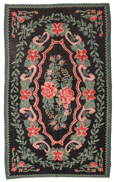Rose Kelim Moldavia Rug 154X246 Authentic  Oriental Handwoven Black/Dark Grey (Wool, Moldova)