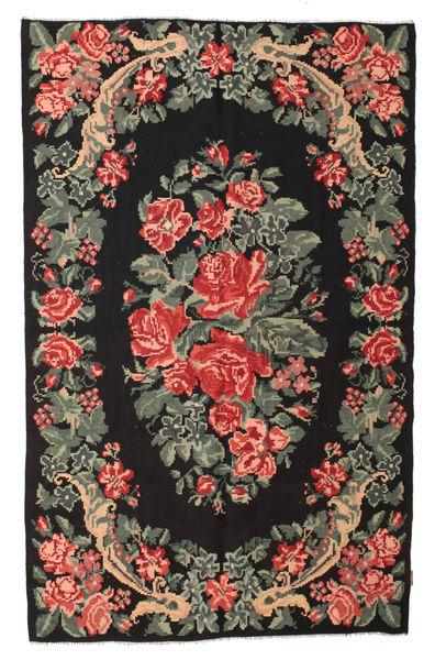 Kelim Rosen Moldavia Teppich  164X262 Echter Orientalischer Handgewebter Schwartz/Dunkelgrau (Wolle, Moldawien)